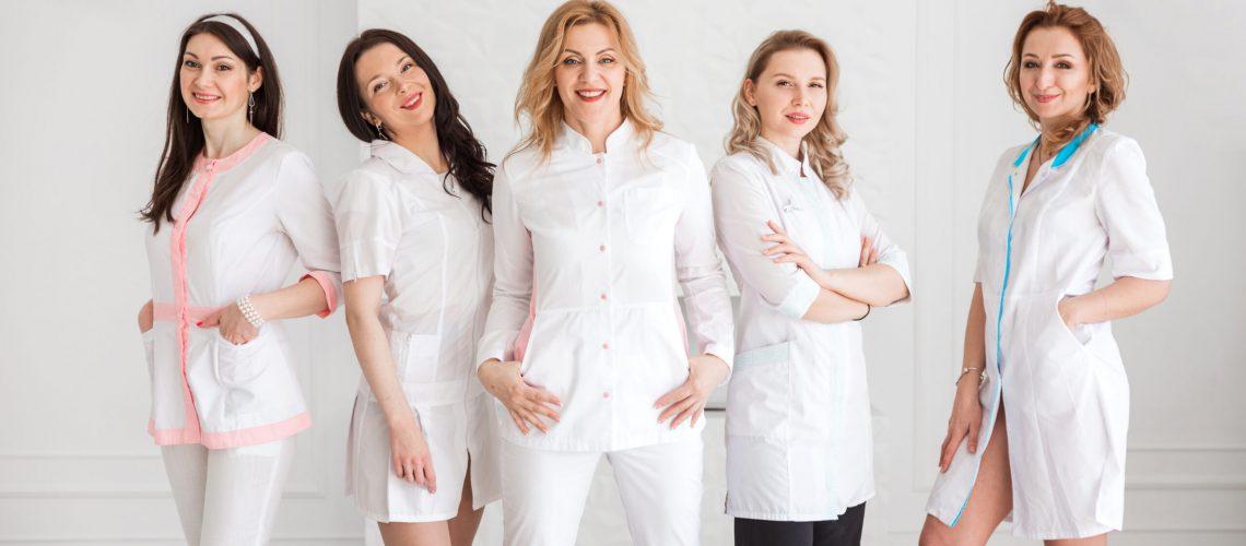 A,Group,Of,Happy,Beautiful,Female,Doctors,,Nurses,,Interns,,Lab